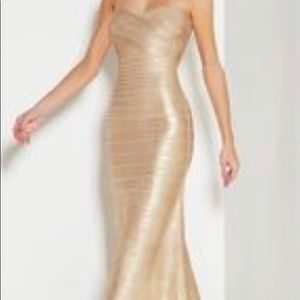 """BNWT Herve Leger Lt Gold """"Sara"""" Gown in XS!!"""